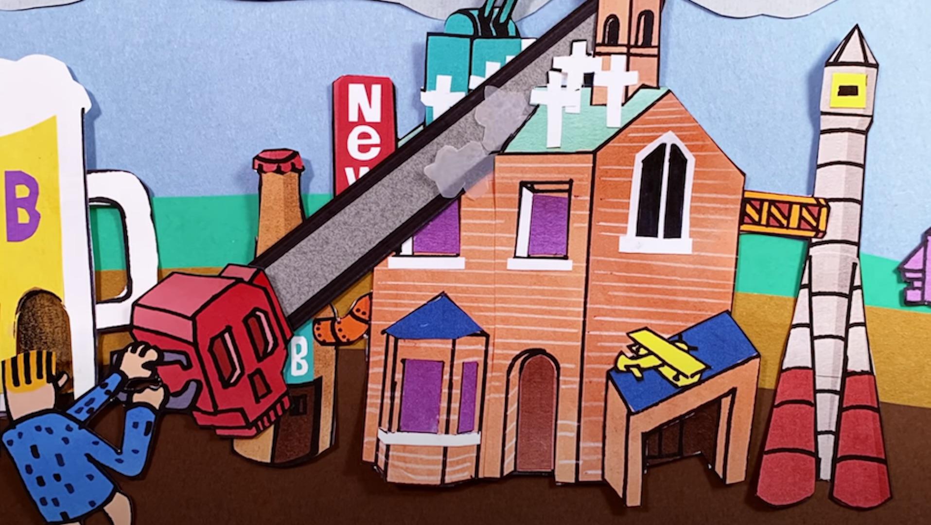 Idles, Model Village, extrait de la vidéo co-signée par Michel Gondry